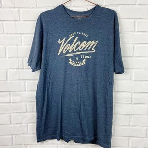 Volcom skate unisex blue gray logo graphic tee XL